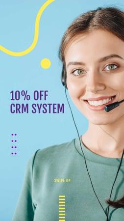 Plantilla de diseño de CRM Systems Discount Offer with Female Consultant Instagram Story