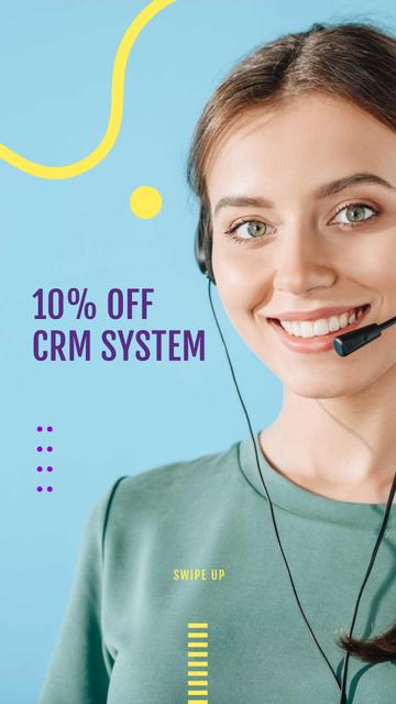 Modèle de visuel CRM Systems Discount Offer with Female Consultant - Instagram Story