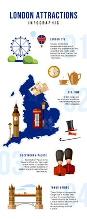 Informational infographics aboun London Attractions Infographicデザインテンプレート