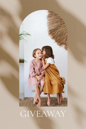 Designvorlage Giveaway announcement with Kids sharing Secret für Pinterest