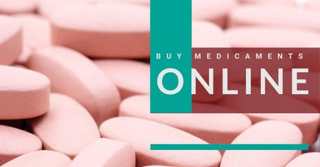 Ontwerpsjabloon van Facebook AD van Online drugstore Offer with medicines