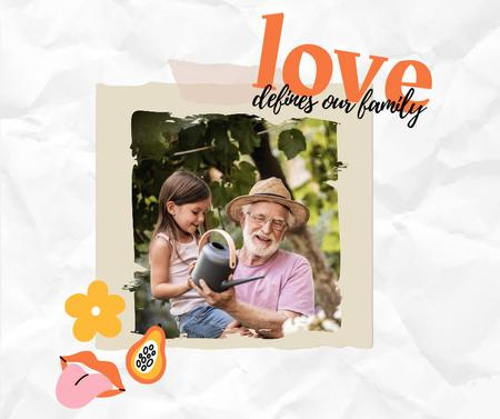 Template di design Happy Grandpa watering Flowers with Granddaughter Facebook