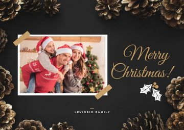 Merry Christmas Greeting Family by Fir Tree