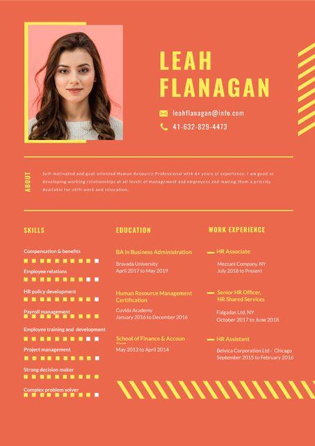 Ontwerpsjabloon van Resume van Human resources specialist skills and experience