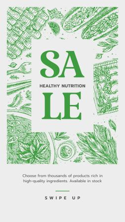 Modèle de visuel Healthy Nutrition Sale on Green - Instagram Story