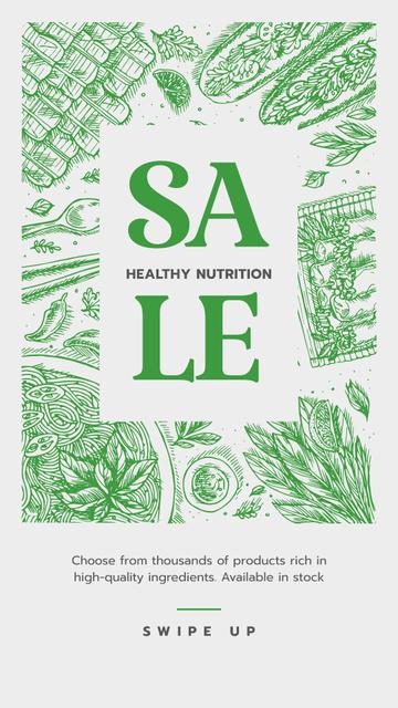 Healthy Nutrition Sale on Green Instagram Story – шаблон для дизайна