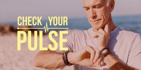 Plantilla de diseño de Check your pulse poster with senior man Image