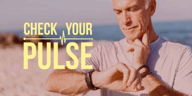 Plantilla de diseño de Check your pulse poster with senior man Image
