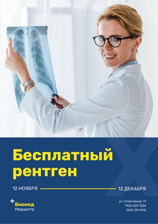 Clinic Promotion with Doctor Holding Chest X-Ray Poster – шаблон для дизайна
