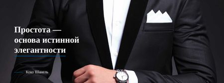 Fashion Quote with Man in Formal Suit Facebook cover – шаблон для дизайна
