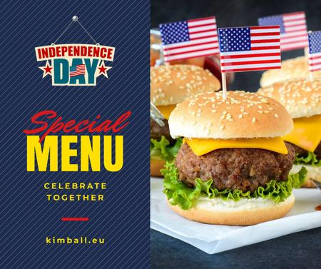 Independence Day Menu with Burgers Facebook Modelo de Design