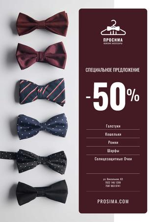 Men's Accessories Sale with Bow-Ties in Row Poster – шаблон для дизайна