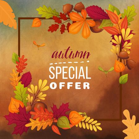 Autumn Inspiration with Golden Foliage Frame Animated Post Modelo de Design