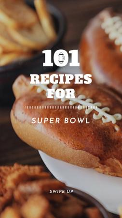 Super Bowl recipes with Rugby Ball-Shaped Pies Instagram Story Modelo de Design