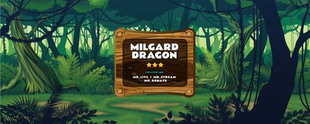 Modèle de visuel Game Streaming Ad with Tropical Forest illustration - Twitch Profile Banner