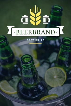 Brewing Company Ad Beer Bottles in Ice Tumblrデザインテンプレート