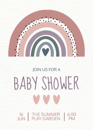 Baby Shower Holiday Announcement with Rainbow Illustration Invitation – шаблон для дизайну