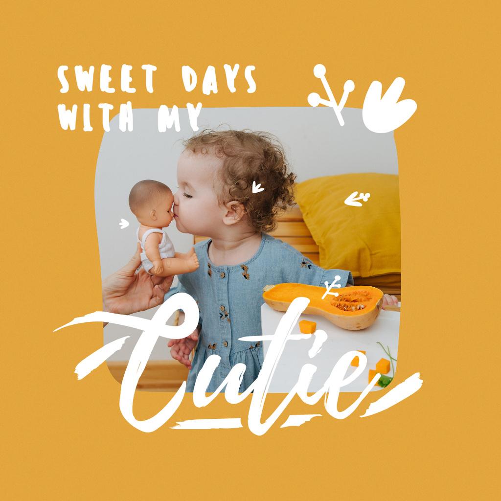 Cute little Girl holding Baby Doll Instagram Tasarım Şablonu