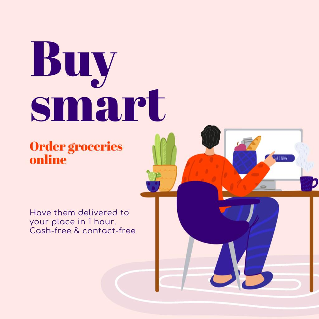 Buy Smart Quote with Man shopping Online Instagram Design Template