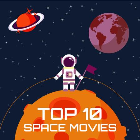 Plantilla de diseño de Space Movies Guide with Astronaut in Space Animated Post