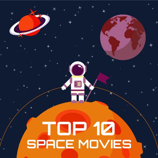 Plantilla de diseño de Space Movies Guide with Astronaut in Space Animated Post