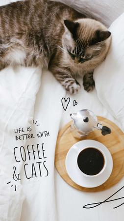 Cat by Morning Coffee Instagram Story tervezősablon