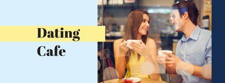 Cute Couple on Date in Cafe Facebook cover Modelo de Design