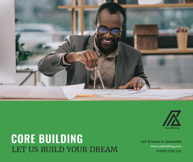 Plantilla de diseño de Architect working with Blueprints Facebook