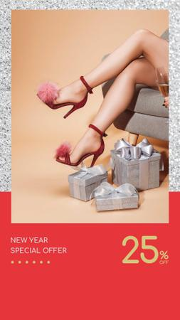 New Year Offer Girl with Gifts and Champagne Instagram Story – шаблон для дизайну
