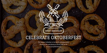 Traditional Oktoberfest pretzels Image Design Template