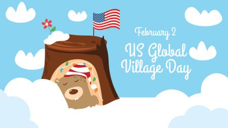 Ontwerpsjabloon van FB event cover van Global Village Day Announcement with Cute Sleeping Groundhog