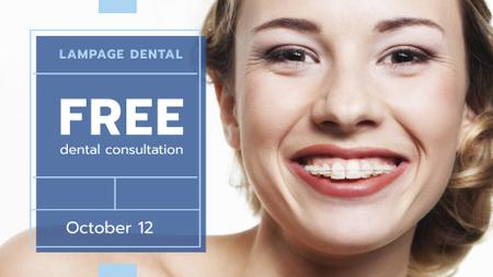 Designvorlage Dental Clinic promotion Woman in Braces smiling für FB event cover