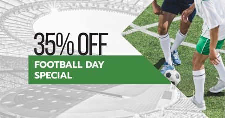 Ontwerpsjabloon van Facebook AD van Football Day Discount Offer with Players