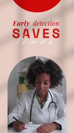 Modèle de visuel Breast Cancer Awareness Motivation with Smiling Doctor - Instagram Video Story