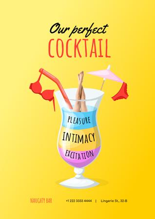 Ontwerpsjabloon van Poster van Sex Shop Offer with Woman diving into Cocktail