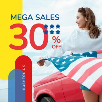 Independence Day Sale Ad Girl with Flag by Car