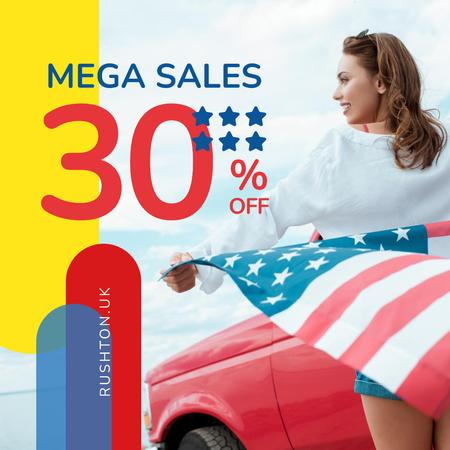Ontwerpsjabloon van Instagram van Independence Day Sale Ad Girl with Flag by Car