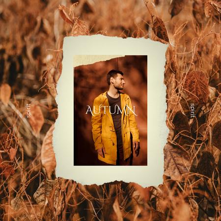 Guy in Stylish Bright Autumn Outfit Instagram Modelo de Design