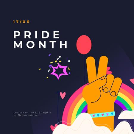 Designvorlage Pride Month Hand Gesturing over Rainbow für Animated Post