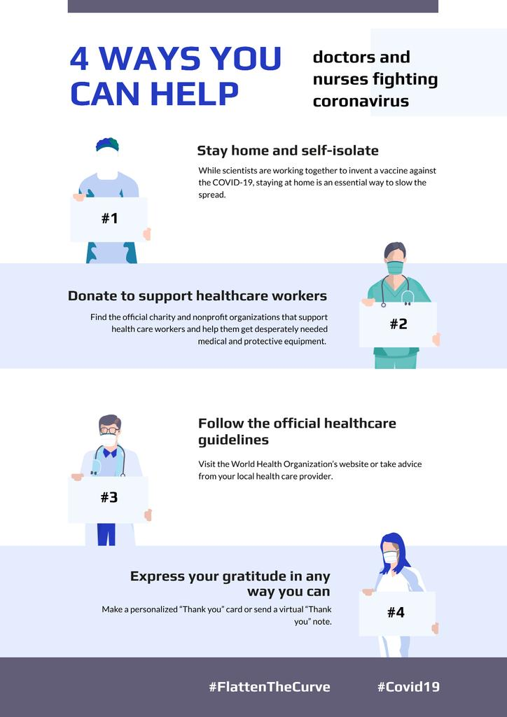 #FlattenTheCurve Doctors with Protective measures against covid-19 Poster Modelo de Design