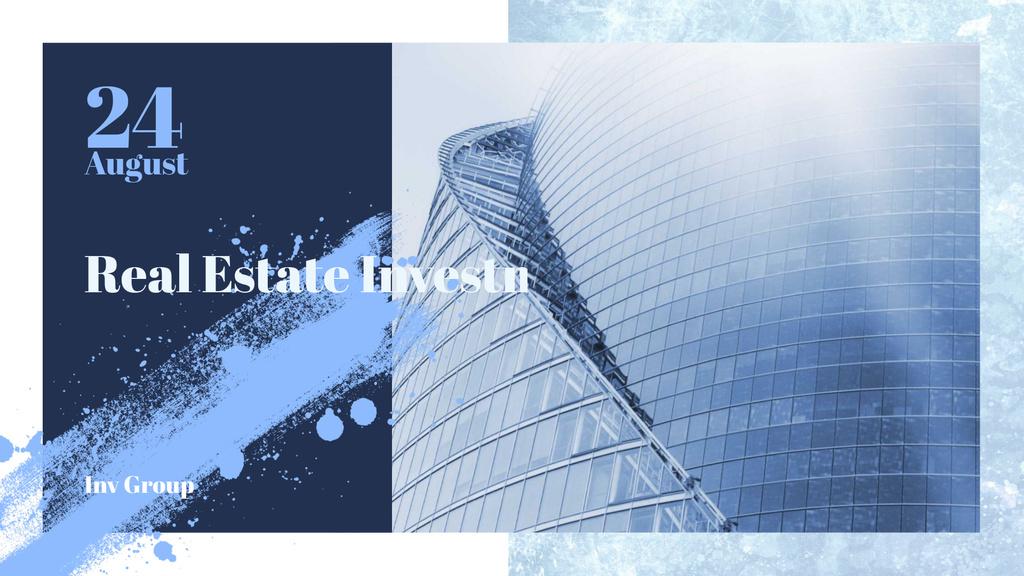 Real Estate Event with Modern Glass Building — Maak een ontwerp