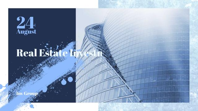 Real Estate Event with Modern Glass Building FB event cover Design Template