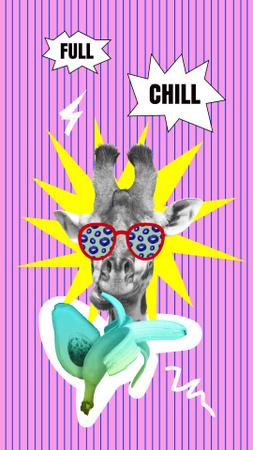 Modèle de visuel Funny Illustration of Funny Giraffe in Sunglasses - Instagram Story