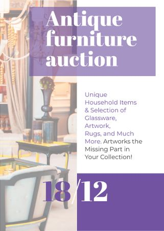 Antique Furniture Auction Vintage Wooden Pieces Flayerデザインテンプレート