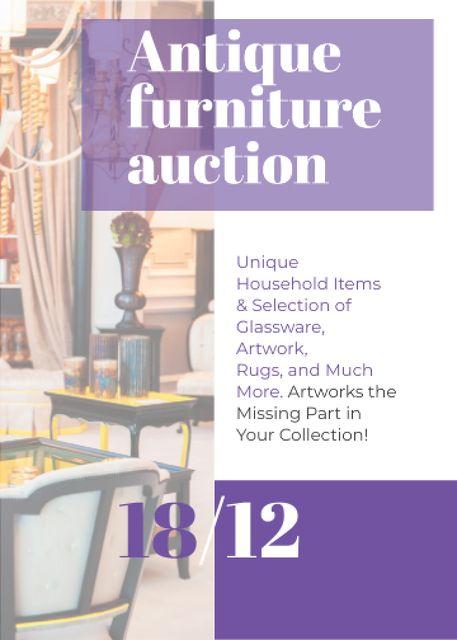 Plantilla de diseño de Antique Furniture Auction Vintage Wooden Pieces Flayer