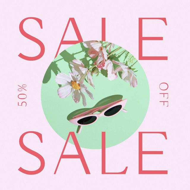 Summer Sale Ad with Stylish Sunglasses Instagram Design Template