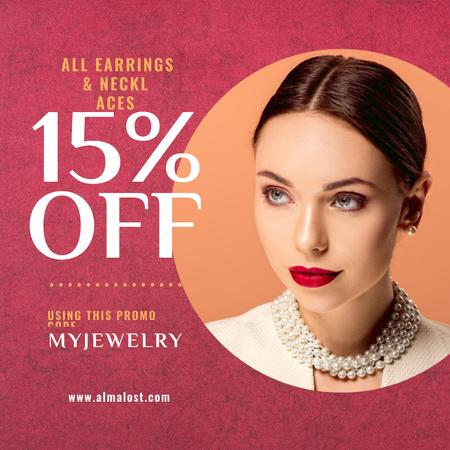 Plantilla de diseño de Jewelry Sale Announcement Woman in Pearl Necklace Instagram