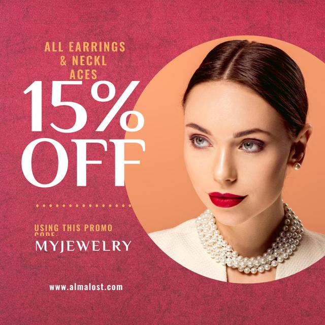Jewelry Sale Announcement Woman in Pearl Necklace Instagram – шаблон для дизайну