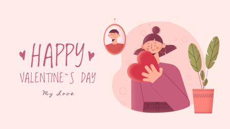 Plantilla de diseño de Girl with heart on Valentine's Day Full HD video