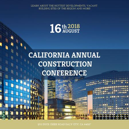 Construction Conference modern Glass Buildings Instagram AD – шаблон для дизайну